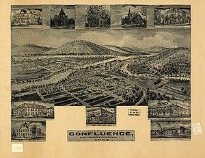 Confluence, Pennsylvania - Image: LOC 1905 birds eye Confluence PA