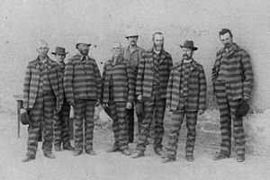 Badge of shame - Prisoners in Utah c.1885 wearing striped prison uniforms considered a badge of shame