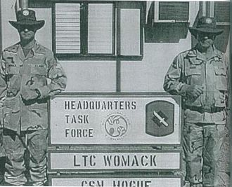 2nd Battalion, 153rd Infantry Regiment (United States) - LTC Steve Womack and CSM Bill Hogue in front of the Task Force Headquarters, Egypt