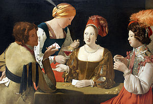 Cardsharps (Caravaggio) - The Cardsharp with the Ace of Clubs by Georges de La Tour, c. 1620–1640.