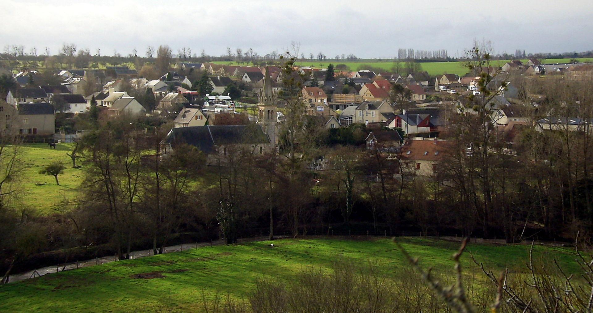 Vue partielle du village de Laize-la-Ville.
