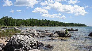 Rocky shore of Lake Huron taken from east of P...