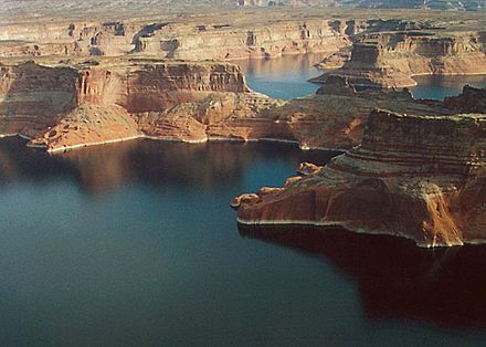 Erosional features within Glen Canyon National Recreation Area. Lake Powell Above Wahweap Marina.jpg