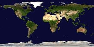 Ορθογωνική προβολή του Plate  μίας συνθετικής - δορυφορικής εικόνας της Γης