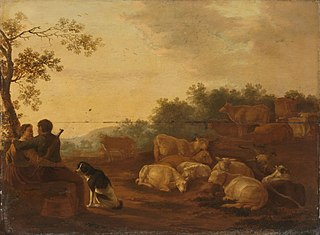 Landscape with sheperd, sheperdess and cattle
