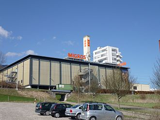 Langendorf, Switzerland - Migros shopping center in a building of the former Lanco watch making factory