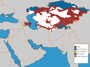 English: Central Asian main Language families