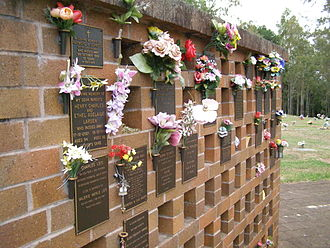 Columbarium - Image: Lawnton columbarium wall