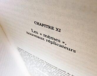"Richard Dawkins bibliography - French translation of The Selfish Gene (chapter 11: ""Memes: the new replicators"")."