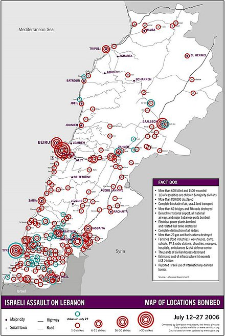 Lebanese areas targeted between 12 and 27 July 2006 Lebanese Areas Targeted 7-12 to 7-27.jpg