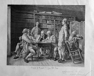 Louis Monzies - Lecture chez Diderot, etching after Meissonier.