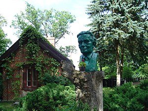 Konstanty Ildefons Gałczyński - Bust of the poet in front of the museum in the forester's lodge Pranie.