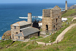 Industrial archaeology - Levant Mine in Cornwall, an early subject of preservation in the 1930s.