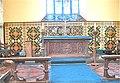 Llywel Church. Chancel altar with Godwin encaustic tile reredos..JPG