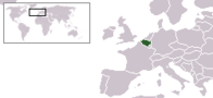 A map showing the location of Belgium