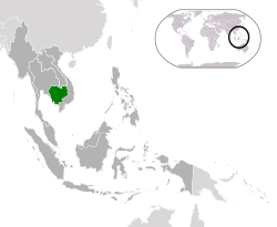 Location of  Cambodia  (green)in ASEAN  (dark grey)  —  [Legend]