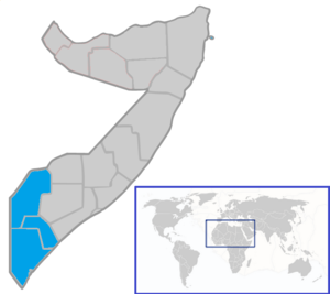 Italian Trans-Juba - Trans-Juba shown on a map of present-day Somalia.