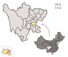 Location of Neijiang City Districts within Sichuan (China).png