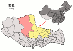 Location of Nyima County within Tibet (outdated map, shows the situation in 2007, before the establishment of Shuanghu County in 2012)