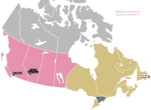 Canadian Rugby Championship - Locations of the four Canadian Rugby Championship teams.