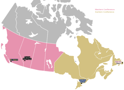 Locations of the four Canadian Rugby Championship teams.