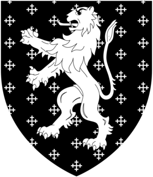 Henry Long (died 1490) - Arms of Long of South Wraxall: Sable semée of cross-crosslets, a lion rampant argent