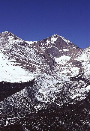 Geography of Colorado - Snowpack accumulation at 14,255 feet (4345 m) on Longs Peak in Rocky Mountain National Park.