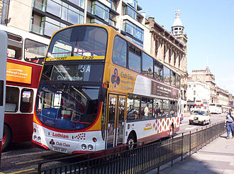 Lothian Buses - Wright Eclipse Gemini bodied Volvo B7TL on route 3A with Club Class branding on Princes Street