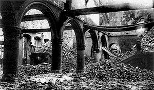 Catholic University of Leuven (1835–1968) - The ruins of the library of the Catholic University of Leuven after the library was burned by the German army in 1914.
