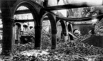 Rape of Belgium - The ruins of the library of the Catholic University of Leuven after it was burned in 1914.