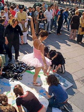 Performance art - Requiem für die Mobiltelephone by Lubo Kristek, 2007, Vienna