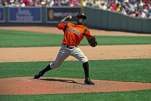 English: Bowie Baysox pitcher at , 2009.
