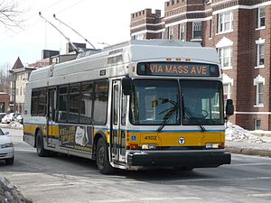 MBTA Bus - Image: MBTA route 77A bus on Mass Ave, February 2015