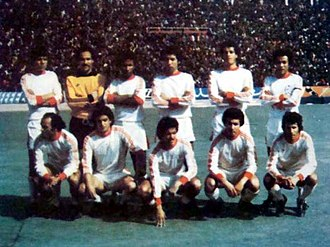 Algerian Ligue Professionnelle 1 - Team of MC Oran in the 1978–79 season – with From Left to Right:    Stand Up : Benmimoun - Sebaa - Baroudi - Benmahi - Bentis - Hadefi   Sitting B. Chaïb - Bensaoula - Belloumi - Benkadda - Kechra