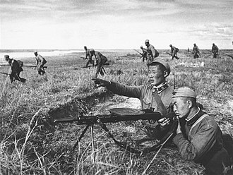 Battles of Khalkhin Gol - Mongolian troops fight against the Japanese counterattack on the western beach of the river Khalkhin Gol, 1939.