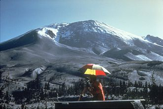 Lava dome - Photo showing the bulging cryptodome of Mt. St. Helens on April 27, 1980.