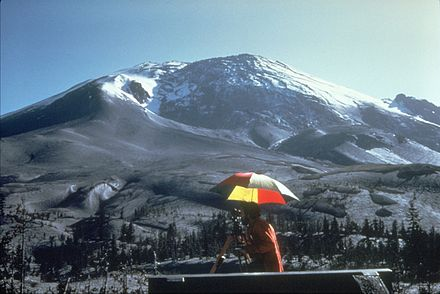 The bulging cryptodome of Mt. St. Helens on April 27, 1980 MSH80 bulge on north side 04-27-80.jpg