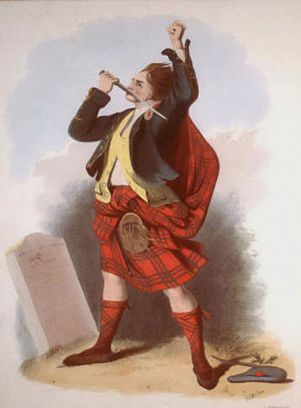 Clan Gregor - A Victorian era, romanticised depiction of a member of the clan by R. R. McIan, from The Clans of the Scottish Highlands, published in 1845.