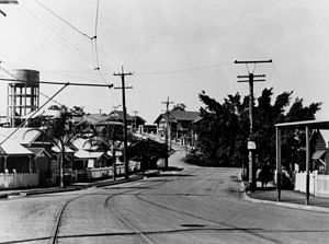 Bardon, Queensland - Tram tracks on Macgregor Terrace, Bardon, circa 1929