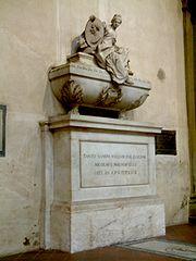 O túmulo de Maquiavel na Basílica de Santa Cruz de Jerusalém.