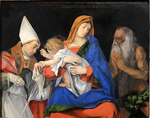 Madonna with Child between Sts. Flavian and Onuphrius - Image: Madonna col bambino (Lorenzo Lotto) September 2015 1a