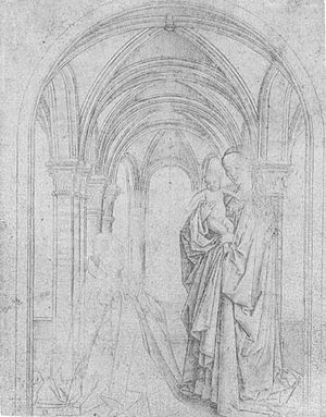 Madonna of Nicolas van Maelbeke - Copy after Jan van Eyck's Madonna and Child with a Donor. Silverpoint on paper, 13.4 x 10.2 cm. Unknown artist, 15th century, Germanisches Nationalmuseum, Nuremberg.