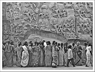 Descent of the Ganges (Mahabalipuram) - A panel of carvings viewed by women