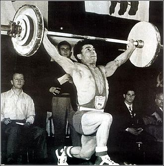 1951 Asian Games - Mahmoud Namjoo of Iran won a gold medal in the Bantamweight (56 kg) category of weightlifting.