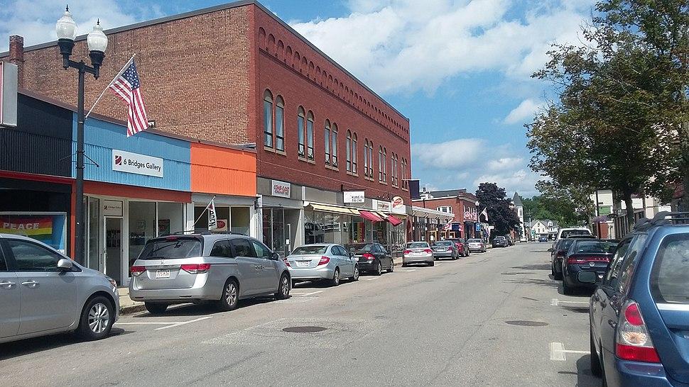 Main Street in downtown Maynard Massachusetts MA USA
