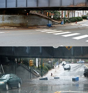 Flash flood - An urban underpass during normal conditions (upper) and after fifteen minutes of heavy rain (lower)
