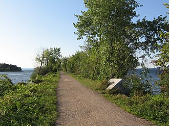 Colchester, Vermont - The Island Line Trail travels from Colchester across Lake Champlain to Grand Isle County; it is a former railroad line.