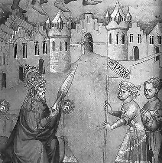 John Mandeville - The emperor of Constantinople holding the Holy Lance, from a British Library manuscript.