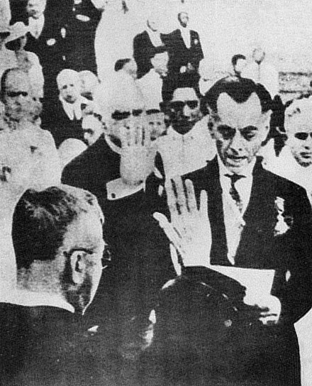 First inauguration of Philippine Commonwealth President Manuel Quezon at the steps of the Legislative Building in Manila on 15 November 1935. Manuel Quezon first inauguration.jpg