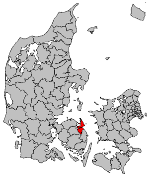 Hindsholm - Map of Kerteminde municipality in Denmark. Hindsholm forms the northern half of this municipality.